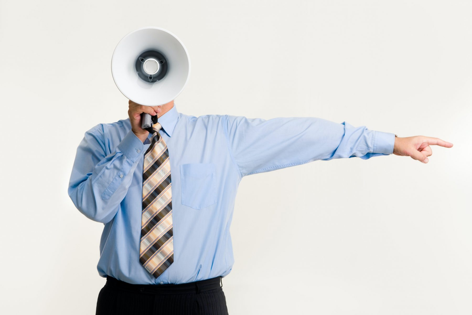 boss pointing with megaphone